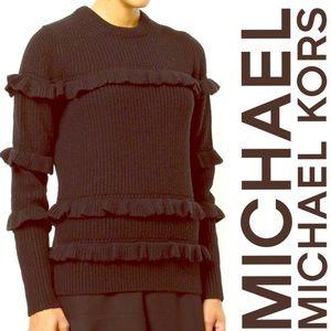 NWT Michael Kors Black Ruffle Sweater